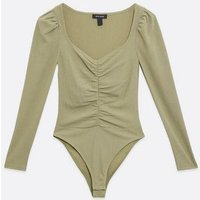 Khaki Ruched Textured Bodysuit New Look