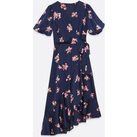 Navy Satin Floral Puff Sleeve Wrap Dress New Look