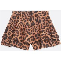 Brown Leopard Print Ruffle Skort New Look