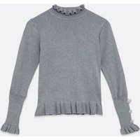Cameo Rose Pale Grey Ruffle Knit Jumper New Look