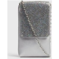 Girls Silver Diamante Chain Strap Phone Bag New Look