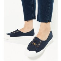 Navy Canvas Metal Trim Lace Up Trainers New Look Vegan