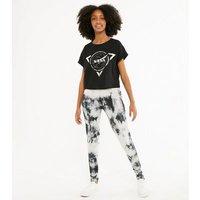 Girls Black Tie Dye Leggings New Look