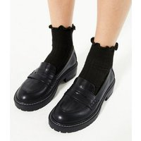 Black Faux Croc Panel Chunky Loafers New Look Vegan
