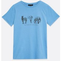 Bright Blue Animal Be Kind Logo T-Shirt New Look
