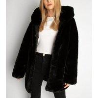 Gini London Black Faux Fur Hooded Jacket New Look