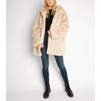 Gini London Stone Faux Fur Hooded Jacket New Look
