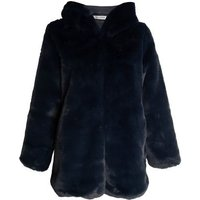 Gini London Navy Faux Fur Hooded Jacket New Look