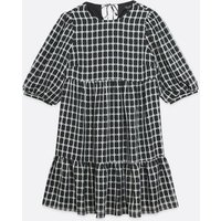 Maternity Black Check Puff Sleeve Tiered Smock Dress New Look