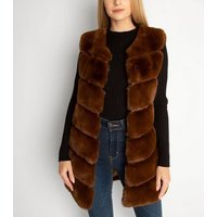 Gini London Brown Pelted Faux Fur Long Gilet New Look