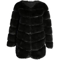 Gini London Black Pelted Faux Fur Jacket New Look