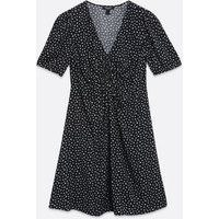 Maternity Black Ditsy Floral Ruched Mini Dress New Look
