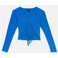 Petite Blue Ribbed Ruched Tie Front Top New Look