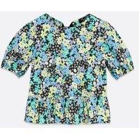 Petite Black Floral Puff Sleeve Peplum Top New Look