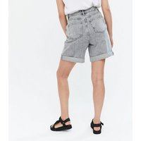 Dark Grey Denim Long Shorts New Look