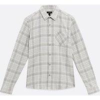 Men's Pale Grey Check Long Sleeve Pocket Front Shirt New Look