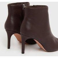 NA-KD Dark Brown Stiletto Heel Ankle Boots New Look