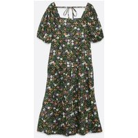Influence-Green-Floral-Tie-Back-Puff-Sleeve-Midi-Dress-New-Look
