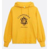 Influence Mustard Mystic Logo Hoodie New Look
