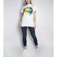 Miss Attire White Rainbow Lips T-Shirt New Look
