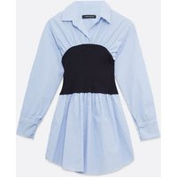 Cameo Rose Pale Blue Stripe Corset Style Shirt New Look
