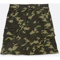 Pink Vanilla Khaki Camo Denim Cargo Mini Skirt New Look