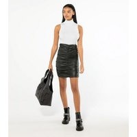 Cameo Rose Black Leather-Look Ruched Mini Skirt New Look