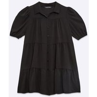 Cameo Rose Black Tiered Puff Sleeve Shirt Smock Dress New Look