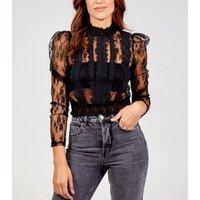 Pink Vanilla Black Lace Crochet Trim Blouse New Look