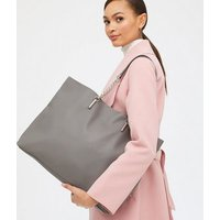 Grey Leather-Look Chain Strap Slouch Tote Bag New Look Vegan