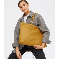 Yellow Leather-Look Chain Strap Slouch Tote Bag New Look Vegan
