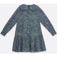 Blue Paisley Print Chiffon Collared Mini Dress New Look