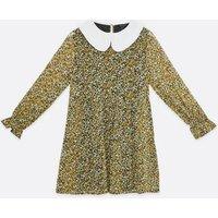 Black Ditsy Floral Chiffon Frill Collar Mini Dress New Look