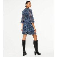Blue Ditsy Floral Belted Tiered Wrap Dress New Look