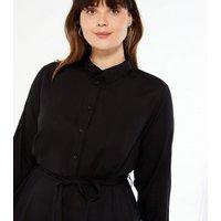 Curves Black Tie Waist Maxi Shirt Dress New Look