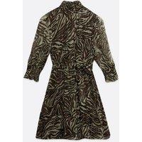 Black Zebra Print Metallic Chiffon Mini Dress New Look