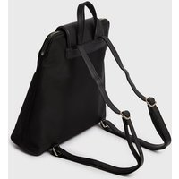 Black Leather-Look Strap Backpack New Look