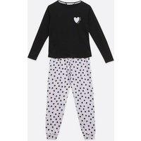 Black Heart Hello Weekend Logo Jogger Pyjama Set New Look