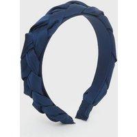 Blue Satin Plaited Headband New Look