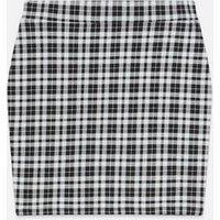 Girls Black Check Tube Mini Skirt New Look