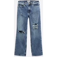 Petite Blue Ripped 90s Baggy Fit Jeans New Look