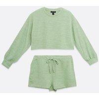 Light Green Fine Knit Ribbed Shorts Set New Look