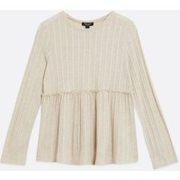 Maternity Off White Ribbed Fine Knit Peplum Top New Look