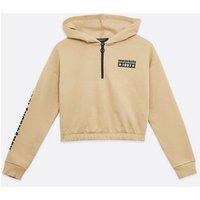 Girls Camel New York Logo Zip Hoodie New Look