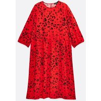 Curves Red Leopard Print Smock Dress New Look