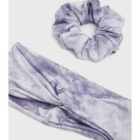 Girls Pale Grey Tie Dye Headband and Scrunchie Set New Look