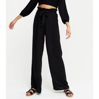 Black Cheesecloth High Waist Beach Trousers New Look