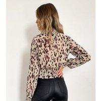 Zibi London Multicoloured Leopard Shirred Crop Top New Look