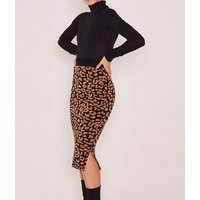 Zibi London Brown Leopard Print Bodycon Skirt New Look