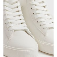 White Leather-Look High Top Trainers New Look Vegan